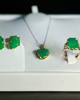 Set en oro 18K y esmeraldas en bruto