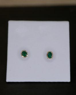 Aretes topos en oro 18K y esmeraldas