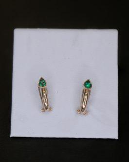 Aretes en oro de 18K con esmeraldas