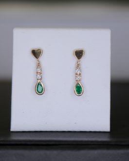 Aretes largo en oro 18K con diamantes y esmeraldas