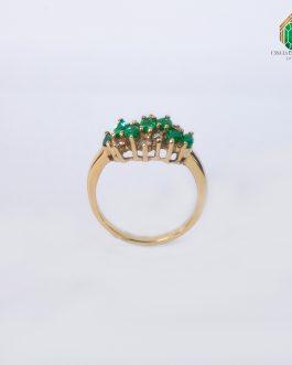 Anillo Oro Amarillo Esmeraldas Marquiz Y Diamantes