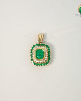 Dije En Oro Amarillo Diseño Marquesa Con Esmeralda Y Diamantes