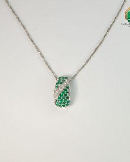 Gargantilla De Oro Blanco Con Esmeralda Y Diamantes